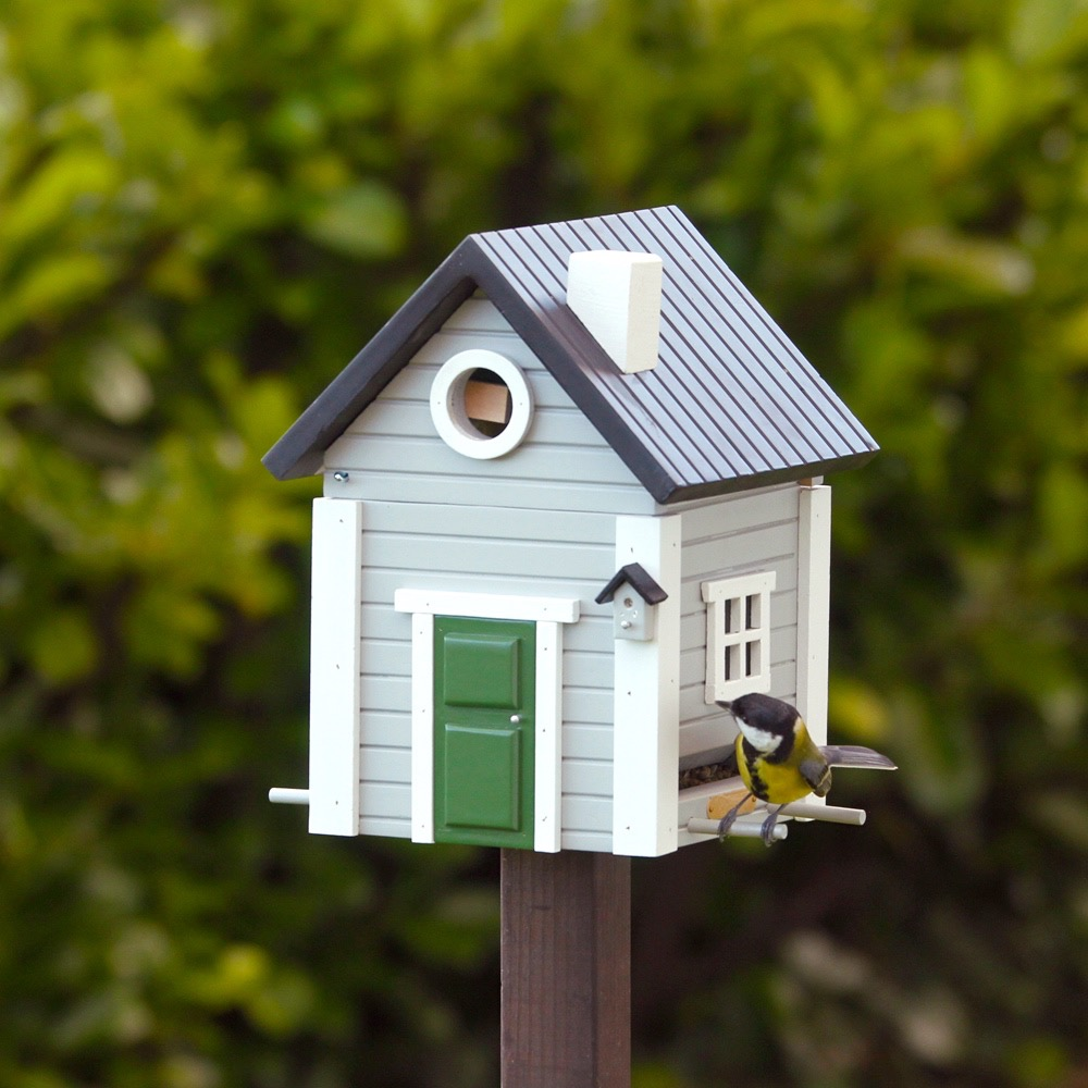 Schwedenhaus grau  Vogelhaus Graues Haus Wildlife Garden - Vogel- und ...