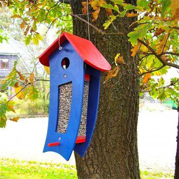futterspender blau futtersilo f r loses vogelfutter. Black Bedroom Furniture Sets. Home Design Ideas