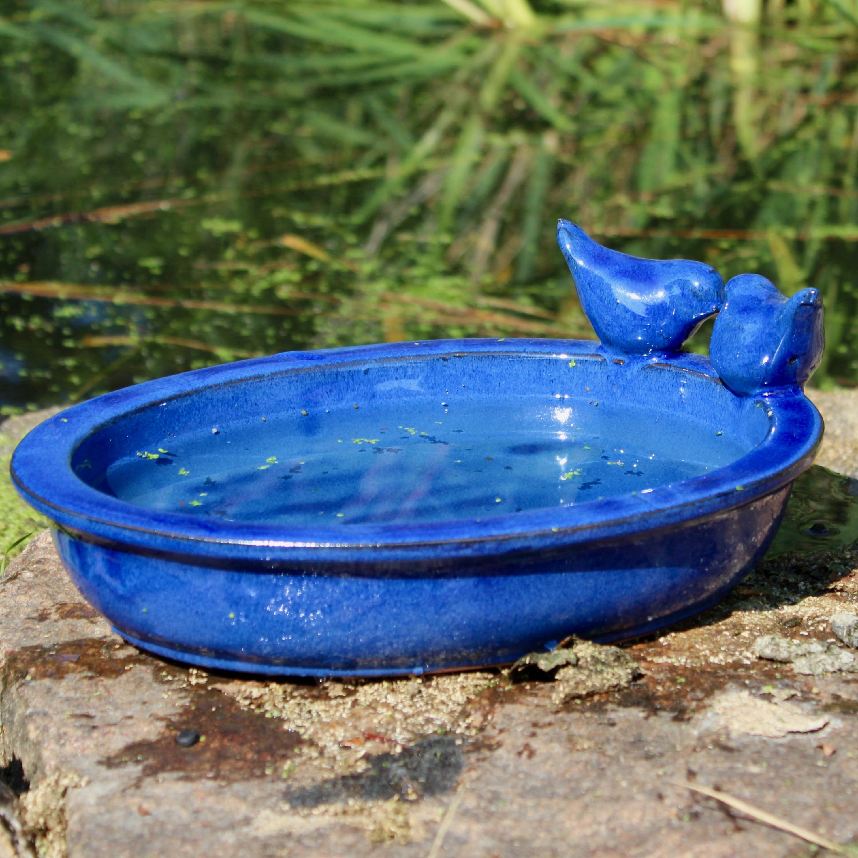 Vogeltränke Keramik oval blau, Esschert Design - Vogel- und ...