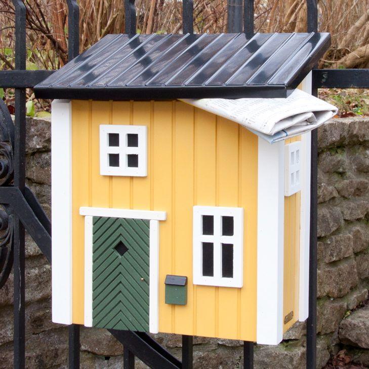 schwedenstil briefkasten gelb vogel und. Black Bedroom Furniture Sets. Home Design Ideas