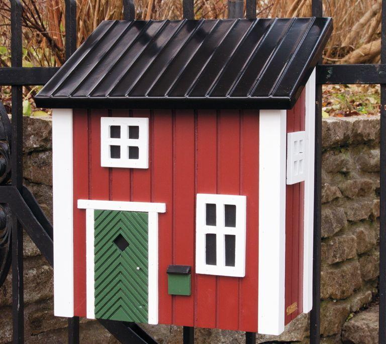 schwedenstil briefkasten rot vogel und. Black Bedroom Furniture Sets. Home Design Ideas